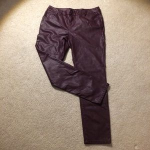 MAROON FAUX LEATHER PANTS